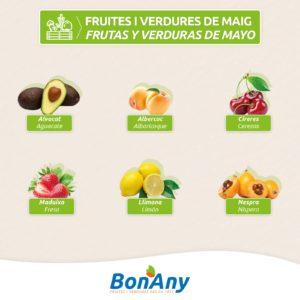 Frutas y verduras de mayo